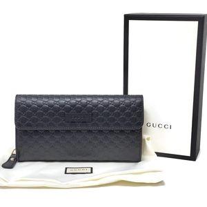 💯 Auth Gucci Guccissima Black Long Zippy Wallet